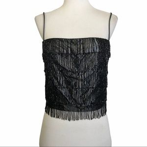 Rampage Bead Fringe Camisole Black Iridescent Top